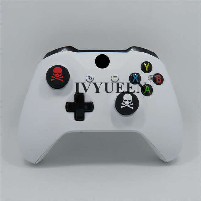 IVYUEEN 2 pcs Cat / Skull Print Silicone Joystick Thumbsticks Grip Caps for Dualshock 4 PS4 Pro Slim Controller for XBox One X S 3