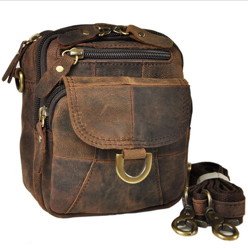 New Men Genuine Leather Vintage Cell/Mobile Phone Cover Case skin Hip Belt Bum Purse Fanny Pack Waist Bag Pouch купить