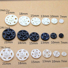 Arts Crafts Snap Buttons 10-25mm Fasteners Press Stud Invisible plastic for handmade Gift Box Scrapbook Craft DIY Sewing Wh(China)
