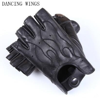 Spring Men's Genuine Leather Gloves Driving 100% Sheepskin Half Finger Gloves Non-slip Breathable Ridding Cycling Mittens