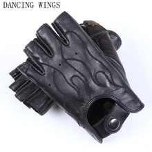 DANCING WINGS Spring Men's Genuine Leather Driving 100% Sheepskin Half Finger Gloves