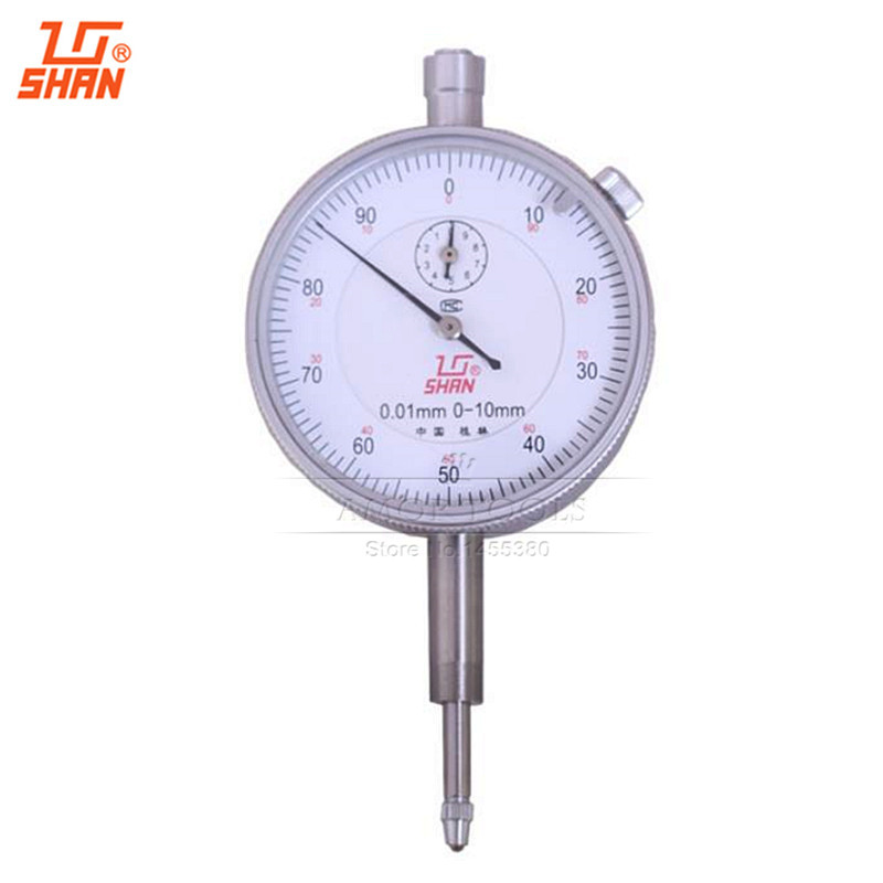 SHAN Dial Indicator 0 10mm/0.01mm Aluminum Body Dial Gauge