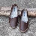 2016 cuero Genuino Hecha A Mano original de otoño mujer zapatos casuales boca baja cómodo escoge los zapatos de la personalidad