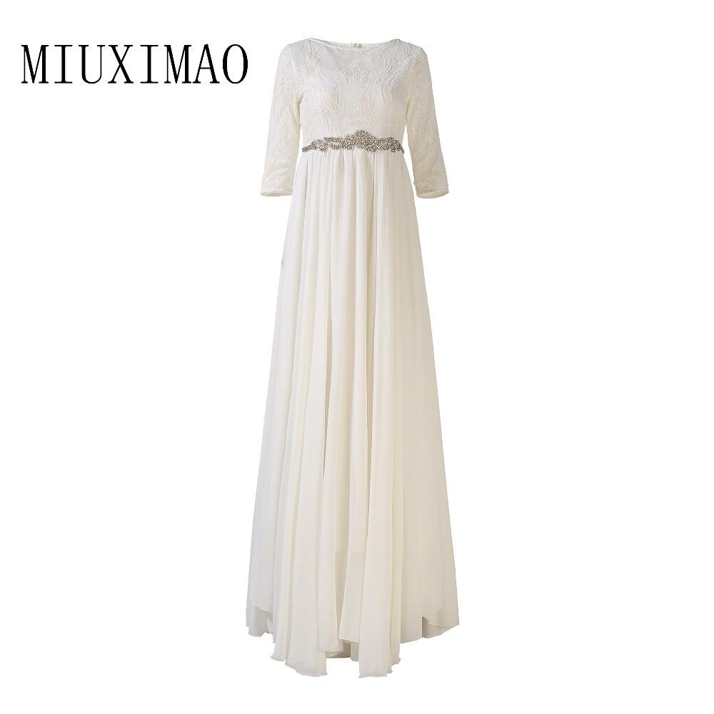 2018 Spring & Summer Fashion New Arrival O-Neck Half Sleeve Sequined Diamonds A-Line Elegant Floor-Length Long Dress Women