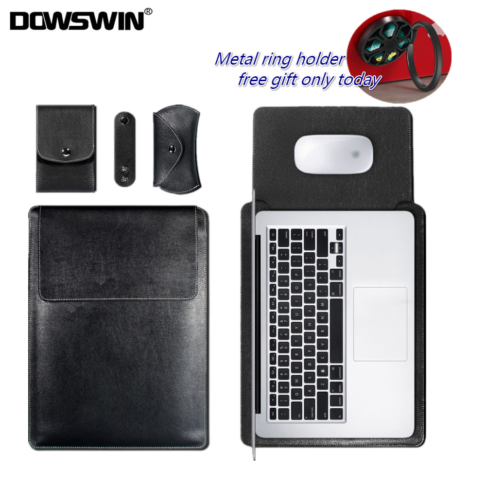 DOWSWIN Sleeve Bag Case for Macbook Air 13 11 Retina 12 13 15 Inch Pro 13 15 Laptop PU Leather Cover Bag for Macbook Wateproof