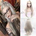 High Density Natural Straight Silver Synthetic Lace Front Wig For Women Glueless Ash Blonde Heat Resistant Wigs Free Shipping