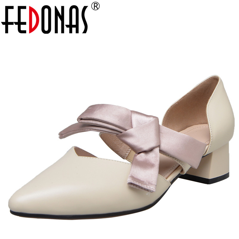 FEDONAS 1Fashion Women Mary Janes Pumps Genuine Leather Spring Autumn High Heels Shoes Woman Sweet Butterfly Knot Quality Pumps egonery shoes 2017 spring and autumn concise wedges butterfly knot pumps simple lace up sweet round toe women fashion high heels