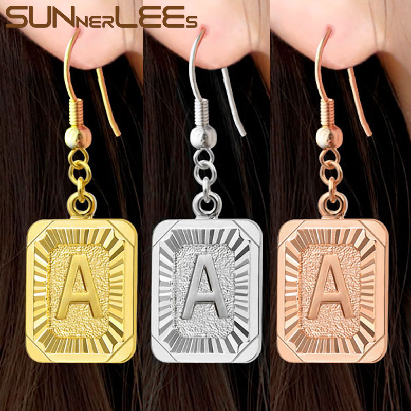 SUNNERLEES Fashion Jewelry 26 Letters A~Z White Rose Gold Color Drop Earrings Dangles For Women Girl Gift LP01 E