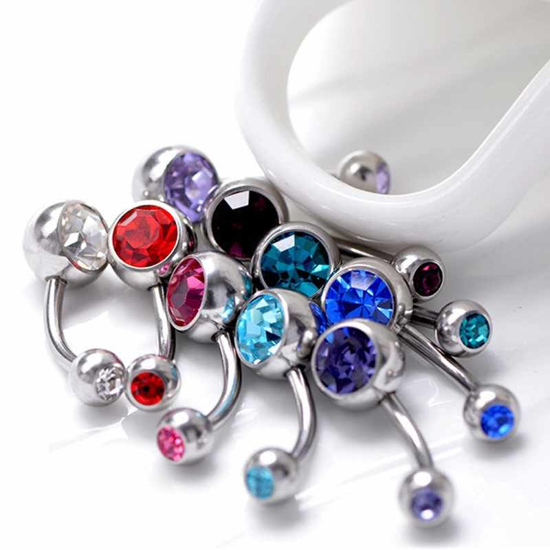 5 ชิ้น/ล็อตแหวนคริสตัลเหล็กผ่าตัดเครื่องประดับ Belly Piercing แหวนเพศจริง Navel Piercing Ombligo Pircing 16G