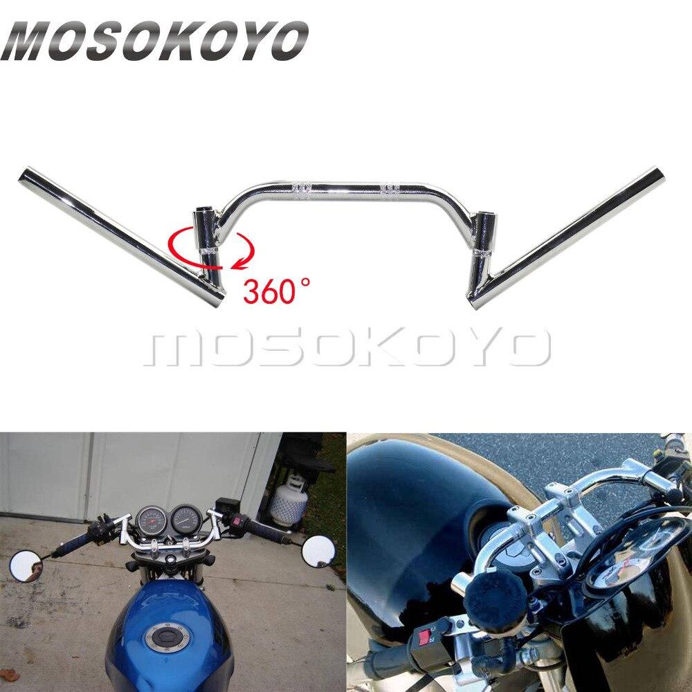Good Quality Motorcycle Motorbike Clubman Style Steel 22mm 7//8 Black Handlebars
