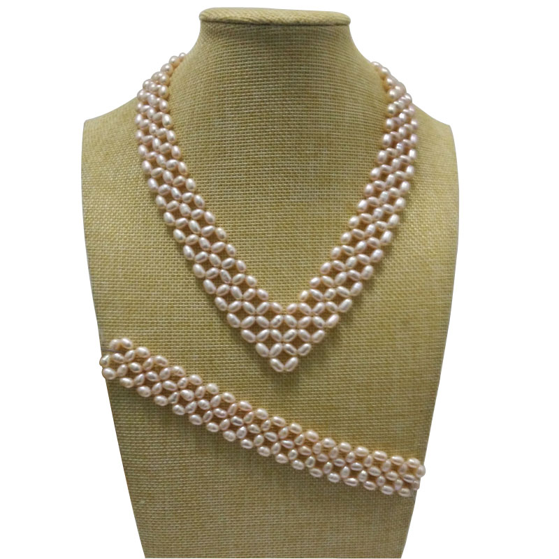 16 inches Natural Pink 5-6mm High Luster Rice Pearls Necklace and 7 inches Braided Bracelet Jewerly Set