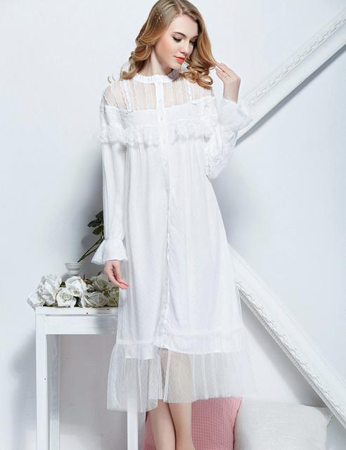 Estilo princesa vestido de Camisola Em Torno Do Pescoço Lace Nightdress Feminino Retro Real Manga Comprida Outono Mulheres Sleepwear Frete Grátis