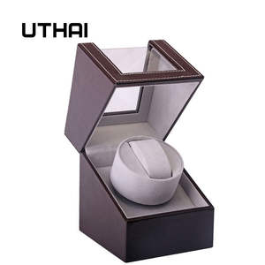 UTHAI Storage-Organizer Watch Winder-Holder Jewelry Mechanical Shaker Brown Motor Display