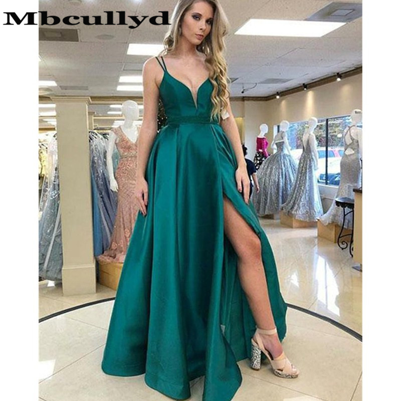 Mbcullyd Dark Green   Prom     Dresses   With V Neck 2019 Luxury Satin Cheap Under 100 Sexy Split Long Evening   Dress   Party For Women