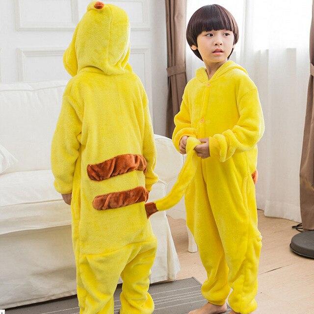 Child Pikachu Kigurumi Pajama Onesie Kid Boy Girl Winter Anime Overall Pyjama Onepiece Baby Warn Animal Sleepwear kengurumi