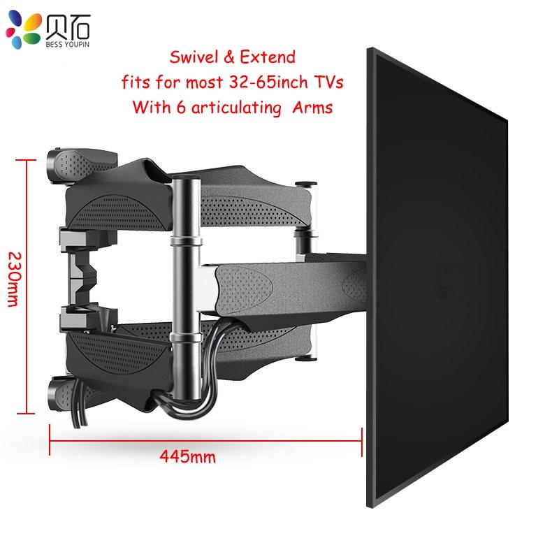 Articulando 6 Braços TV Tilt TV Suporte de Parede para Montagem Em Rack de Montagem Na Parede de Movimento Total para 32