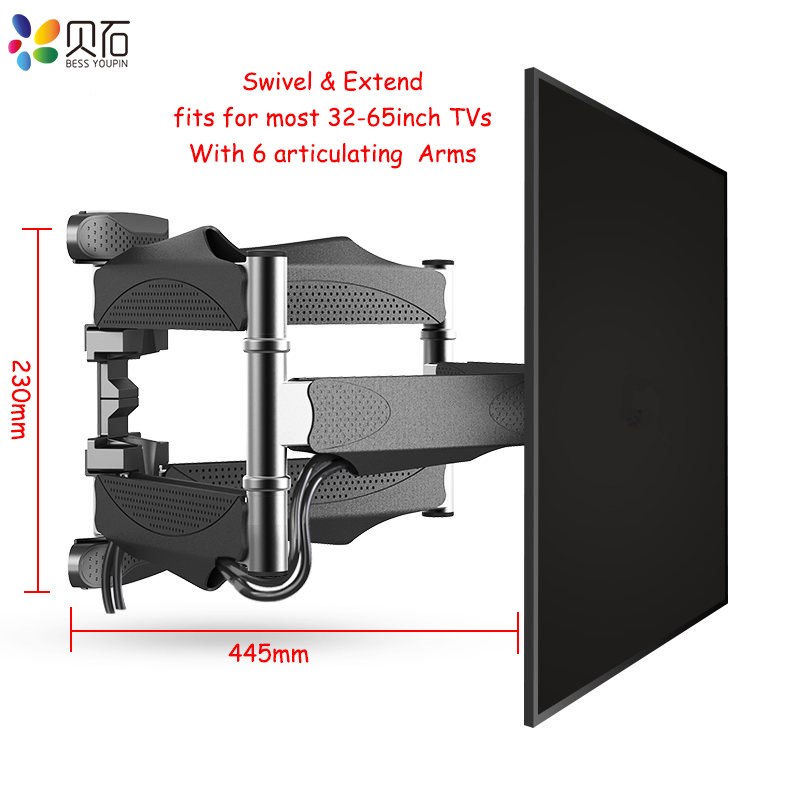 Articulating 6 Arms TV Wall Mount Full Motion Tilt Bracket TV Rack Wall Mount  For 32