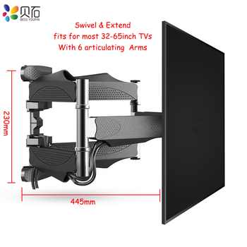 """Articulating 6 Arms TV Wall Mount Full Motion Tilt Bracket TV Rack Wall Mount  for 32""""-65"""" TVs up to VESA 400x400mm and 88lbs"""
