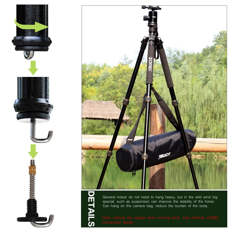ZOMEI Z699 Travel Camera Tripod Magnesium Aluminum Alloy Monopod 360 degree Ball Head -9