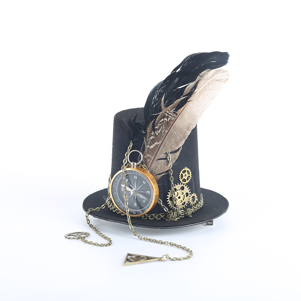 Womens Lolita Cosplay Little Hat Hairpin Steampunk Mini Top Hat Vintage Fedoras Hat Gothic Gear & Compass Feather Chain Headwear
