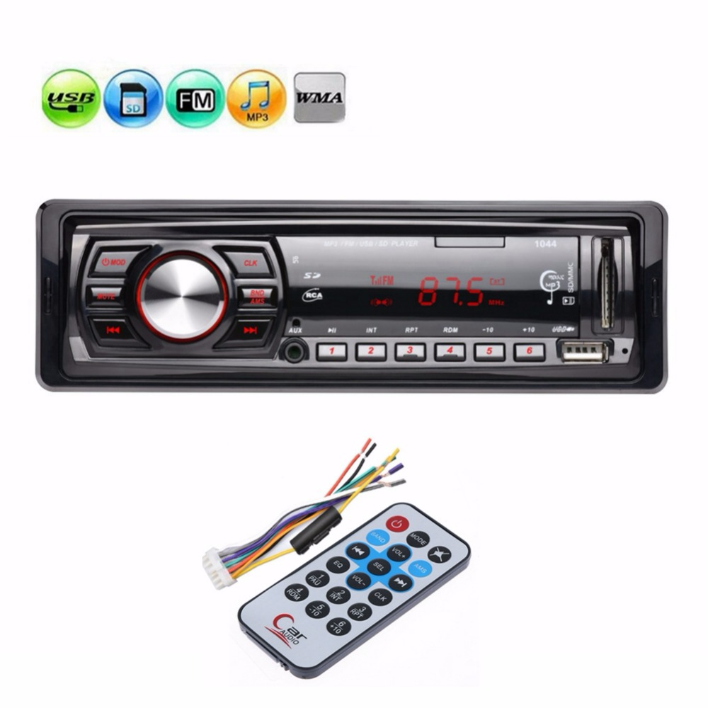 12V In dash Single 1 Din Car Radio Stereo Audio MP3 Player FM Receiver Aux Receiver Support USB SD MMC Card Remote Control