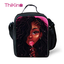Thikin Pop Young Afro American Girls Lunch Bags for Teenagers Boys Fashion Portable Cooler Box Cartoon Pattern Tote Picnic Pouch