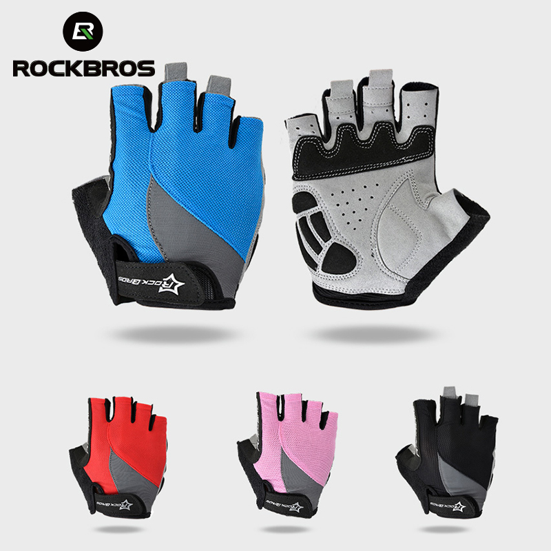 RockBros Non-Slip Breathable Mtb Bike Gloves Mens Women's Summer Bicycle Cycling Gel Pad Short Half Finger Sport Gloves ciclismo batfox summer men women half finger cycling gloves short bicycle gloves mountain bike mtb equipment bicicleta para ciclismo