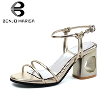 BONJOMARISA 2019 Brand New Plus Size 32-45 Ladies High Heels Fretwork Women Shoes Woman Casual Party Ol Summer womens Sandals
