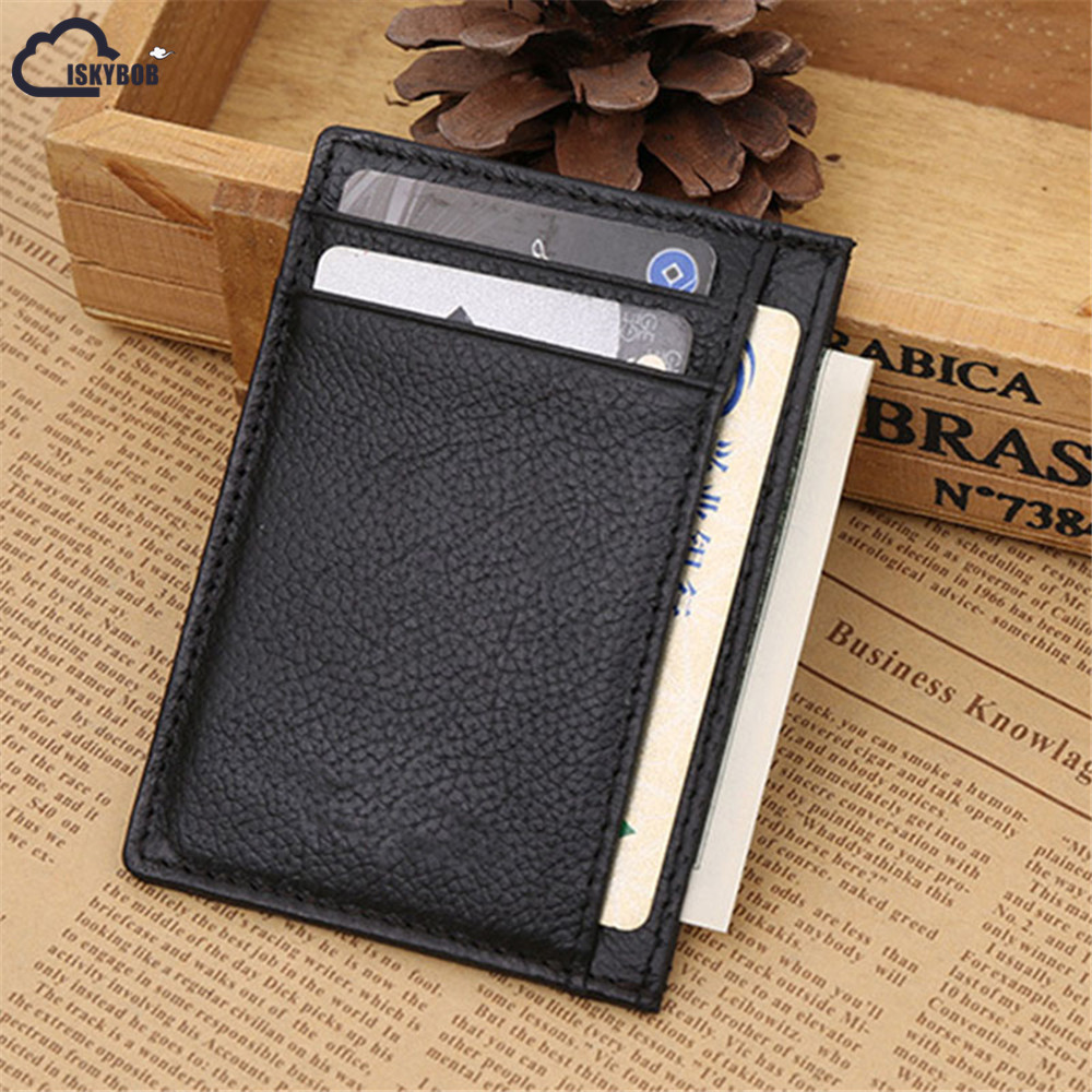 ISKYBOB Slim Man Genuine Cow PU Leather Male Credit Card Holders Thin Money Dollar Clip Wallet Purse ID Pocket for Men все цены