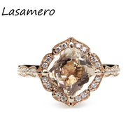 LASAMERO Ring For Women 8 mm flower Certified morganite Ring Accents 10k Gold Real Engagement Wedding Ring
