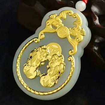 6dba1530f586 Hetian Jade GuanYu colgante Jade GuanGong collar amuleto de la suerte de  joyas de oro de 24 K chino al por mayor de joyería fina