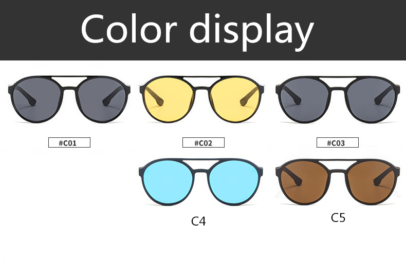 Men's sunglasses plastic + metal round frame glasses UV400 fashion ladies sunglasses classic brand driving night vision goggles (8)