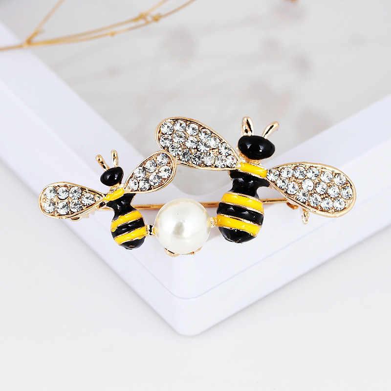 RHao Enamel bee Bros ibu dan anak Pasangan Honeybee Bros untuk Wanita Pria pakaian perhiasan aksesoris lucu berlian imitasi pins