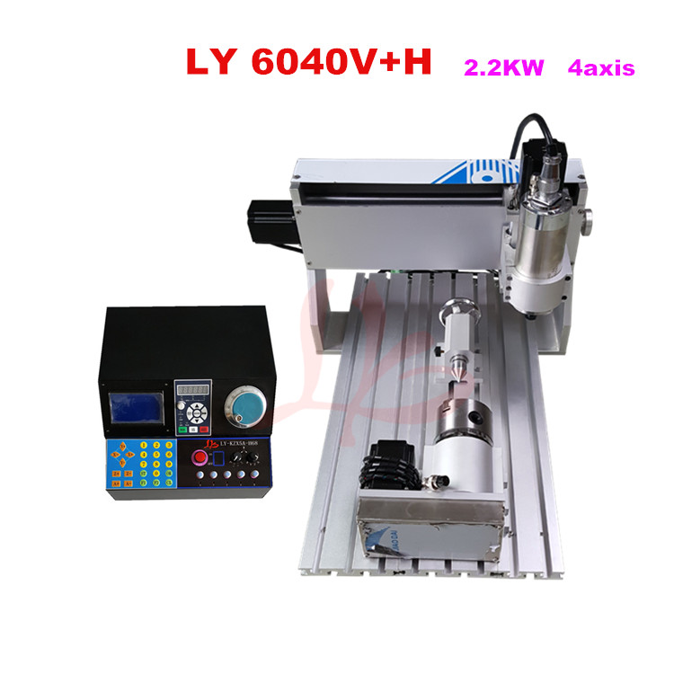 Ball screw cnc milling machine 6040V+H 2.2KW 4axis wood cutting machine,include tax to Russia high steady cost effective wood cutting mini cnc machine milling