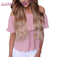 JasWell Women Ladies Clothing Tops Summer Casual Loose Ruffle Off Shoulder Tops Off Shoulder Solid Blouse