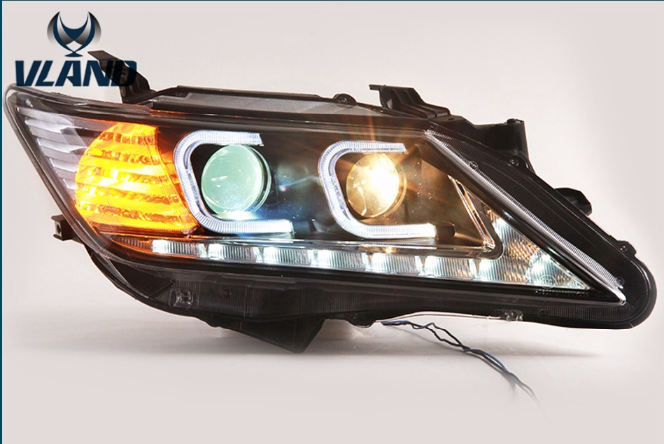 Free Shipping Vland Car Lamp For Toyota Camry 2012-2014 LED Headlight LED Light Bar DRL Head Lamps Bi Xenon Lens special car trunk mats for toyota all models corolla camry rav4 auris prius yalis avensis 2014 accessories car styling auto