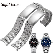 Pulseira de relógio para substituição, 20mm 22mm, pulseira de aço inoxidável para costura ômega 300 231, pulseira de metal, fecho dobrável prata 007
