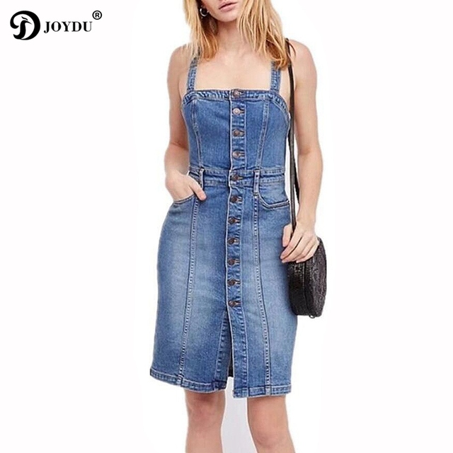 8abd6b7c13ae JOYDU Designer vestidos 2018 New Summer Jean Dresses For Women Single  Breasted Spaghetti Strap Midi Denim Dress Fashion sarafan
