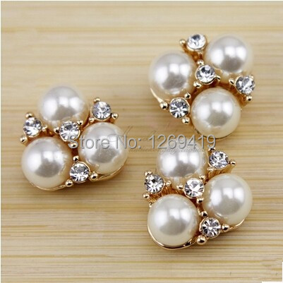 NEW 20PCS Pearl Diamond Alloy Rhinestone Buttons Rose Gold Flatback  Decoration Button Hair Accessories Handmade Bowknot Material e916b77f3609
