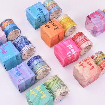 4 Rolls Washi Tape Set Colourful Geometric Pattern Paper Masking Tapes Japanese Washi Tape DIY Scrapbooking Sticker , 9mm x 3m Office Adhesive Tape