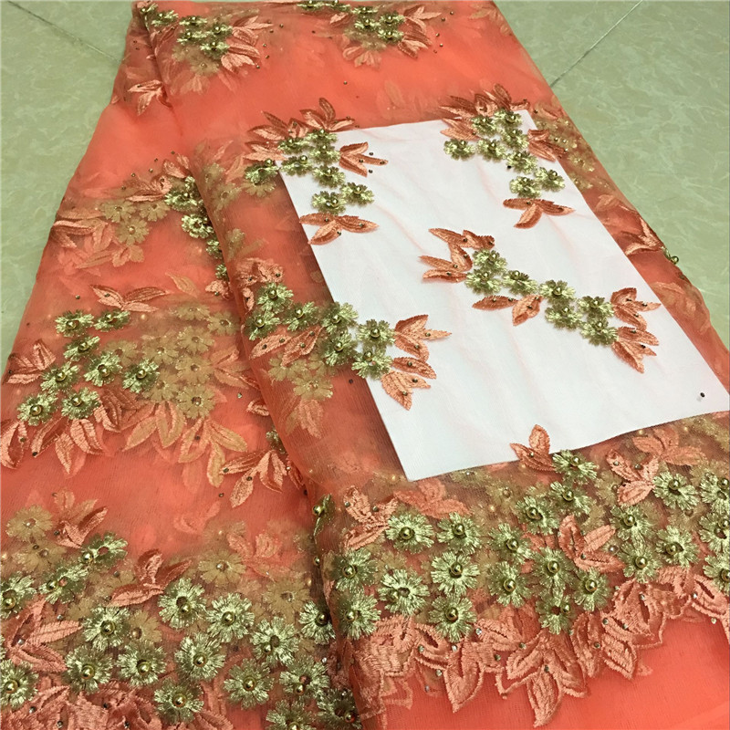 Free shipping Peach african lace fabric high quality french beaded tulle fabric Swiss Voile Lace Fabric