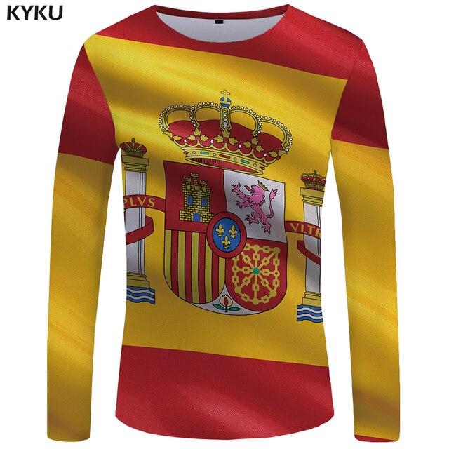 602b147637d KYKU hiszpanii z długim rękawem T shirt pod banderą hiszpańską Tshirt  śmieszne koszulki z krótkim rękawem