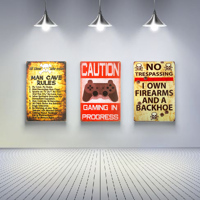 Warning Rules Vintage Tin Sign painting Bar Pub Club Shop Store home Wall Decor
