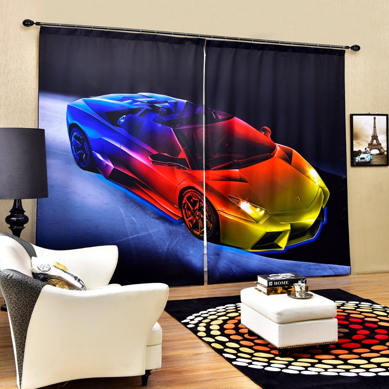 Beautiful sports car 3D Photo Printing Blackout Curtains For Bedding room Living room Drapes Cortinas para sala