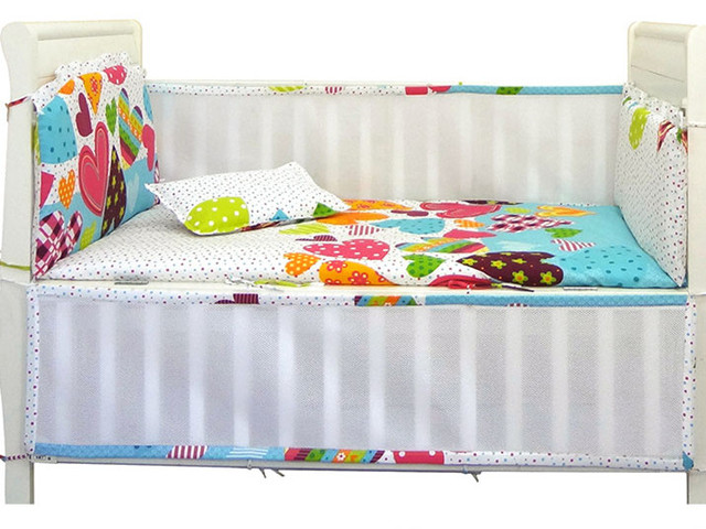 Promotion! 6PCS Mesh Spring Autumn Children's Bedding Kit Cotton Baby Bedding Set Bed Sheet,include(4bumpers+sheet+pillowcase)