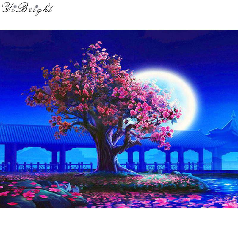 Detail Feedback Questions About Needlework Diy 5d Diamond Painting Full Square Moonlight Flowers Tree Cross Sch Embroidery Night Gallery Mosaic