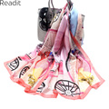 175*65cm 100% Mulberry Silk Scarves Floral Printed Classic Carriage Scarf High Quality Satin Scarf Bornzing Shawl  Women SC1902