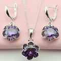 ASHLEY Flower Purple Stone Amethyst Romanstic Jewelry Set For Women Silver Plated Necklace Pendant Drop Earrings Free Gift Box