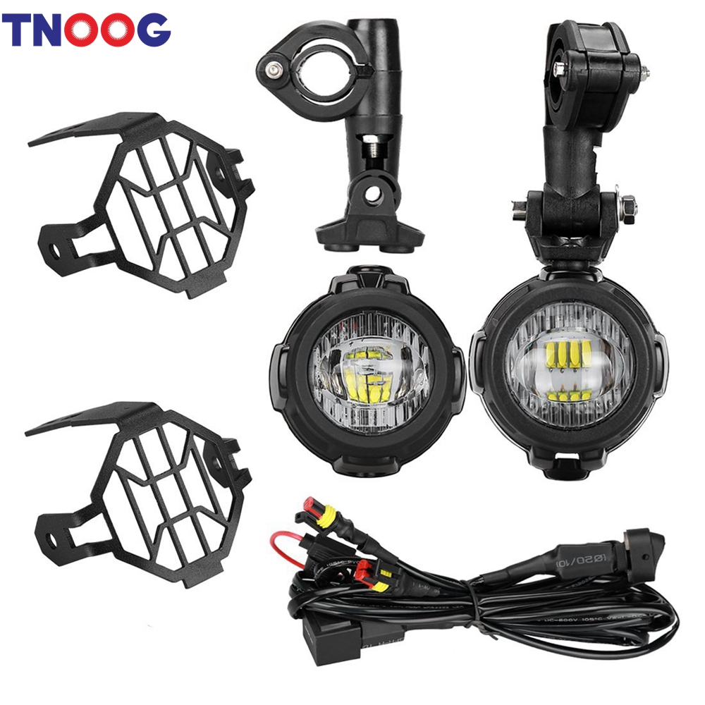 TNOOG 40W LED Auxiliary Lamp 6000K Super Bright Fog Driving Light Kits with Protect Guards Wiring Harness For Motorcycle BMW