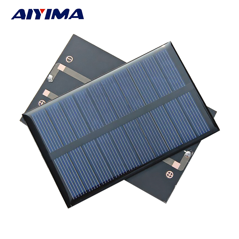 Aiyima 2pcs 5V 240MA 1.2W Solar Panels Polycrystalline Solar Panels SunPower 110x69mm DIY Solar Battery Charger Painel Solars